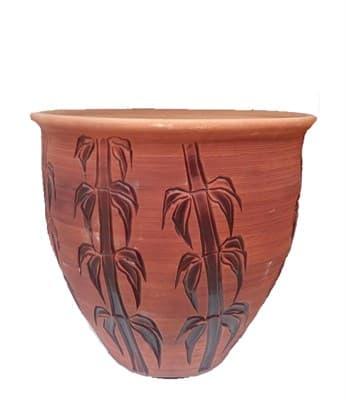 Горшок керамический 35л стирашка травы, бамбук 9013 - фото 11003