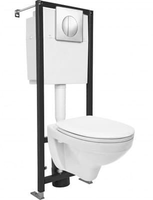 Инсталляция для унитаза DELFI Black Эконом (унитаз подв, инсталляция, сиденье дюропл.микролифт) - фото 26092