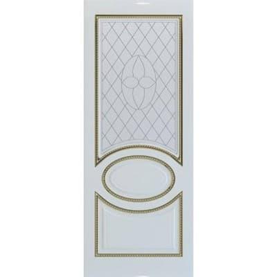 Полотно ЛЕСКОМ дверное Экшпон Неаполь ясень золотой/патина золото витражное стекло 90 - фото 26723