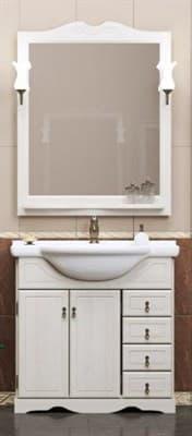 Комплект мебели Клио 70, цвет белый (зеркало+тумба+раковина Дрея+светильник) - фото 5117