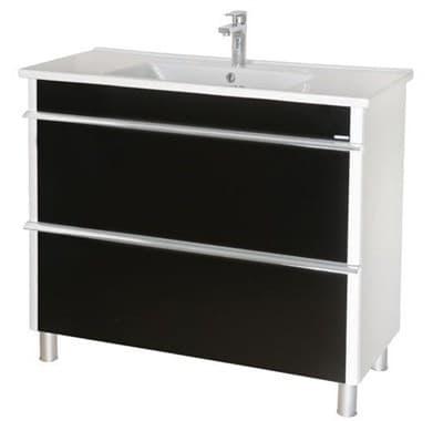 Тумба для ванной комнаты ПАРИЖ 100 с умывальником напольная, черный - фото 5156