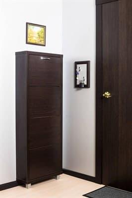 Шкаф для обуви Айрон Люкс 4-х секционный (Венге,окантовка Венге фасад Венге) - фото 5907
