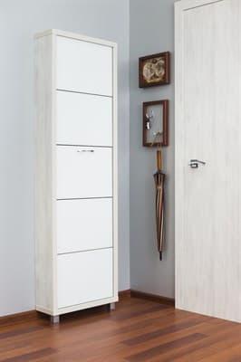 Шкаф для обуви Айрон Люкс 5-ти секционный (Выбеленное дерево/стекло белое) - фото 5910