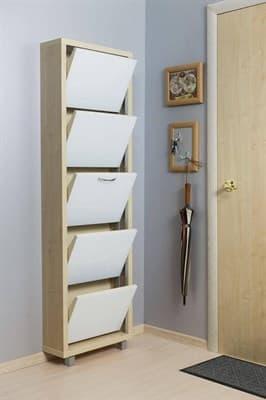 Шкаф для обуви Айрон Люкс 5-ти секционный (Дуб молочный, окантовка Дуб молочный, фасад Стекло белое) - фото 5911