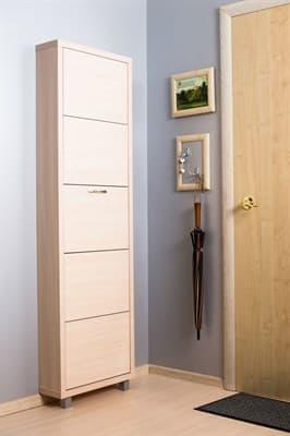 Шкаф для обуви Айрон Люкс 5-ти секционный (Дуб молочный, окантовка Дуб, фасад дуб молочный) - фото 5913