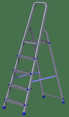 Стремянка алюминиевая KROFT НВ 5 ступеней 603005/1110105 - фото 5980
