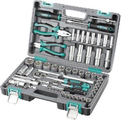 Набор инструментов STELS пластиковый кейс 1/2, 1/4 CrV 69 предм. 14108 - фото 6321