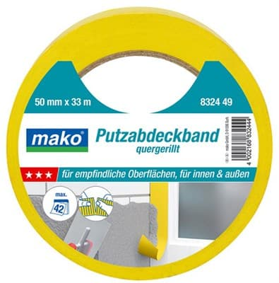 Скотч MAKO для штукатурных работ 38ммх33м (до 70°С) желтый 832437 - фото 6449