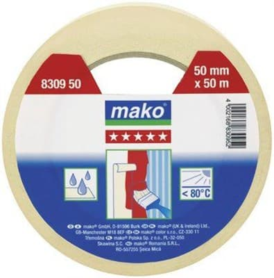 Скотч MAKO малярный 50мх30мм (до 80°С) желтый 830930 - фото 6456
