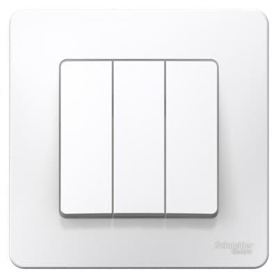 Выключатель WESSEN BLANCA BLNVS100501 3-кл С/У (cх.1+1+1), 10А, 250B, белый - фото 9088