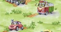 Обои УКРАИНА Машинки зеленые 1070 бумажные 0,53*10,05м (1упак-24рул)