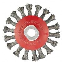 Щетка MATRIX для УШМ 100мм, М14, тарелка , крученая проволока 0,5 мм 74609