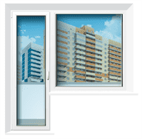 Балконная пара REHAU 70 (на корич/орех/зол.,марен.,пепел.дуб/шефилд)ст.п32-3 мм,800*2150+1350*1450 о