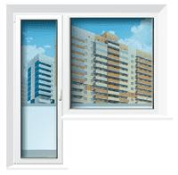 Балконная пара REHAU 60 (орех) ст.п24мм,750*2150+1350*1450 глух W1
