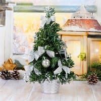 Ёлка декор Пуансетия заснеженная серебро 30см 819241