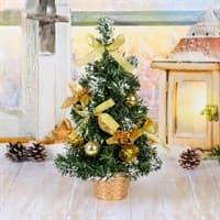 Ёлка декор Золотая пуансетия в снегу 30см 819245