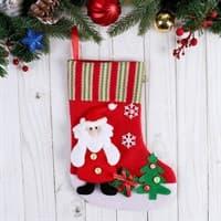Носок для подарков 26*18см Дедушка у елки с подарками 718470