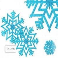 Украшение пластиковое Снежинка с блестками 1шт, голубой цвет, d=28см TZ 12702