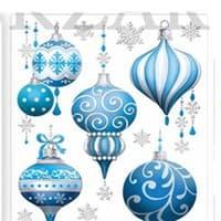 Наклейка новогодняя объемная Елочные шары 4 вида 20*24см TZ 13282
