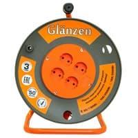 Удлинитель силовой на катушке GLANZEN 4 гн. ПВС 2*1,5 арт.ЕВ-50-006