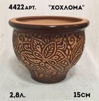 Горшок керамический 2,8л глазурованный литье Хохлома 4818/4422/4222