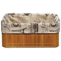 Корзинка РЫЖИЙ КОТ бамбуковая BLB-09-1 с покрытием из натурального льна 38*28*16см 312136