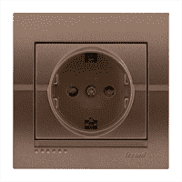 Розетка DERIY с защитой от детей светло коричневый перламутр со ставкой 702-3131-124