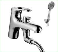 Смеситель OMEGA на борт ванны, с кортким изливом,с аксессуарами хром LM3115C