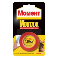 Лента МОМЕНТ монтажная двухсторонняя клеящая рулон 1,5м 1714773