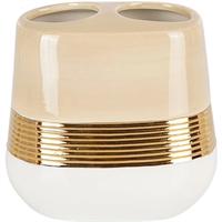 Стакан PRIMANOVA LUCAS GOLD для щётки и пасты, керамика D-20452