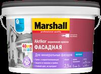 Краска водоэмульсионная MARSHALL AKRIKOR фасадная латексная 2,5л 5183662