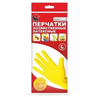 Перчатки хозяйственные латексные L желтые  A.D.M. /240пар/12 DGL018P