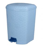 Контейнер для мусора 12л Плетенка c педалью голубой М2348