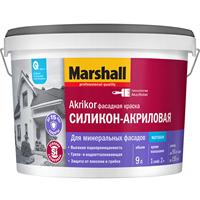 Краска MARSHALL AKRIKOR силикон-акриловая фасадная матовая BW 9л