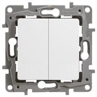 Выключатель LEGRAND Etika 2х-клав. 10АX на винтах (белый) 672202