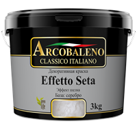 Краска декоративная РАДУГА Arcobaleno Effetto Seta База серебро (1кг)