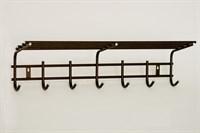 Вешалка для одежды 7 крючков с полкой (антик)