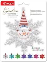 Фигурка VEGAS Снеговик светодиодная на присоске 10*12см меняет цвет с батарейкой 55054