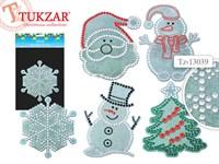Наклейка новогодняя со стразами и блестками 5 видов TZ 13039