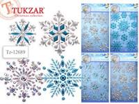 Наклейки интерьерные 3D Снежинки 4 расцветки в ассортименте, 50*29см TZ 12689