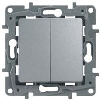Выключатель LEGRAND Etika 2х-клав 10A 250В (алюминий) 672402