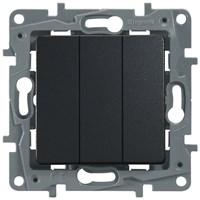Выключатель LEGRAND Etika 3х-клав. 10АX авт. (антрацит) 672613
