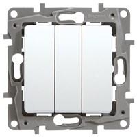 Выключатель LEGRAND Etika 3х-клав. 10АX авт. (белый) 672213