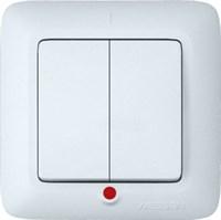 Выключатель WESSEN PRIMA S56-039-BI скр.уст. 2-кл с индикатором (250В,6А)