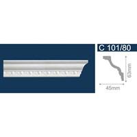 Плинтус СОЛИД потолочный 2,0м С101/80 белый 63мм*45мм (1уп-45шт)