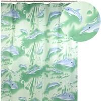 Штора для ванной АКВАЛИНИЯ (зеленые дельфины) 020А-06