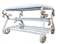 Обувница ФЕРРО ДИЗАЙН Венеция, 80 см, 2 полки, сиденье (белый/бежевый) О-168Б