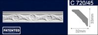 Плинтус СОЛИД потолочный 1,5м С720/45 белый 33мм*32мм (1уп-105 шт)