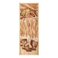 Дверь БАННЫЕ ШТУЧКИ глухая из цельного массива Озорной Дед 1,9х0,7 м., липа 32703