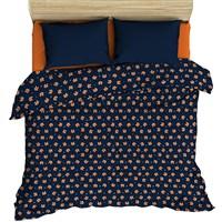 Комплект постельного белья ВАСИЛИСА п/л отб наб 1,5 лён Лисы на синем с комп 175014